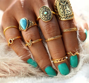Vintage Mandala Turquoise Ring Set in Gold and Silver Rings