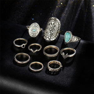 Vintage Mandala Turquoise Ring Set in Gold and Silver Silver Rings
