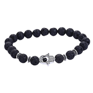 Volcanic Rocks Yoga Hamsa Hand Bracelet in 5 Colors Black / one-size