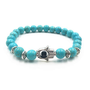 Volcanic Rocks Yoga Hamsa Hand Bracelet in 5 Colors Blue / one-size