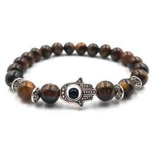 Volcanic Rocks Yoga Hamsa Hand Bracelet in 5 Colors Brown / one-size