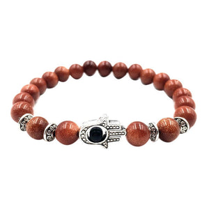 Volcanic Rocks Yoga Hamsa Hand Bracelet in 5 Colors Coffee / one-size
