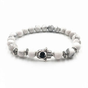 Volcanic Rocks Yoga Hamsa Hand Bracelet in 5 Colors White / one-size