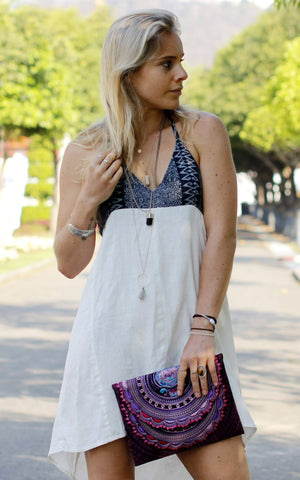 White Aztec Halter Sun Dress M / White Women - Apparel - Dresses - Casual