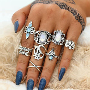 White Stone Silver Party Boho Ring Set White Rings