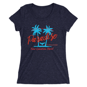 Women's Palm Trees Are My Paradise Customizable Triblend (Personalize This!) Navy T