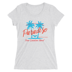 Women's Palm Trees Are My Paradise Customizable Triblend (Personalize This!) White Fleck Triblend / S Women - Apparel - Shirts - T-Shirts
