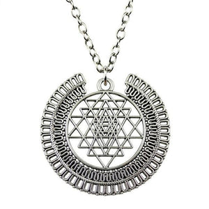 WYSIWYG 50x48mm Sri Yantra Pattern Pendant Necklace, Fashion Jewelry Gift For Women Dropship Jewellery Antique Silver Plated / 70cm Pendant Necklaces