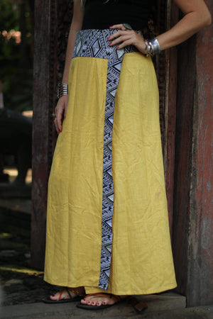 Yellow Diamond Wrap Skirt M / Yellow Women - Apparel - Skirts - Maxi