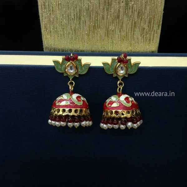 Classic Red and Green Meenakari Jhumka Earrings