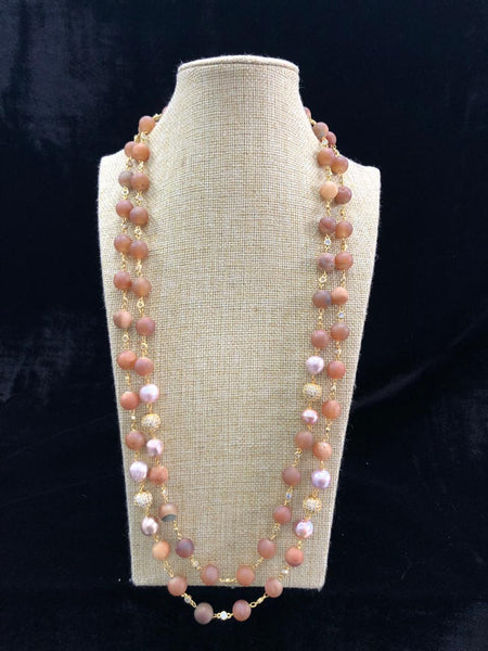 Decorative Berry Red & Pearls Necklace