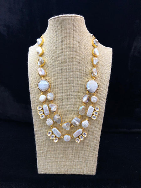 Appealing Mother Of Pearl and Kundan Necklace