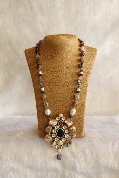 Dazzling Brown Mother of Pearl Kundan Necklace