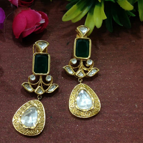 Luscious Green & Kundan Long Earrings