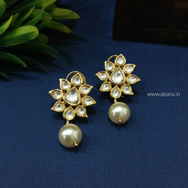 Florence In Gold Kundan Pearls Drop Earrings