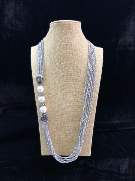 Flattering Grey & Pearls Necklace