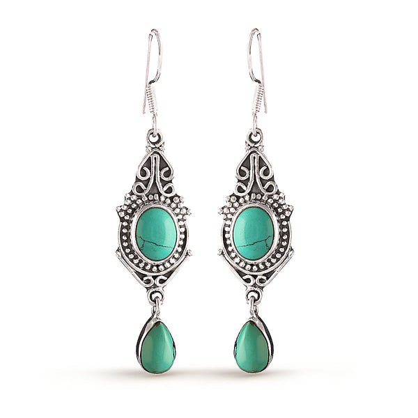 Turquoise Blue Leaf Drop Earrings
