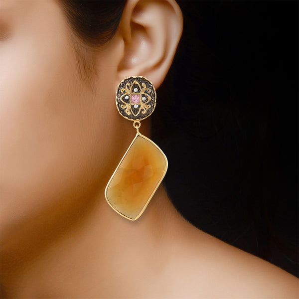 Gleaming Black and Fire Yellow Gemstone Studded Dangle Earrings