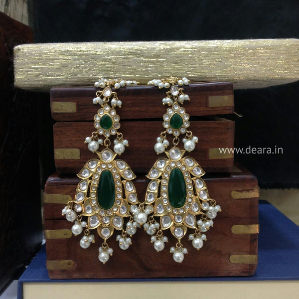 Enamour Emerald Green & Pearl Long Earrings