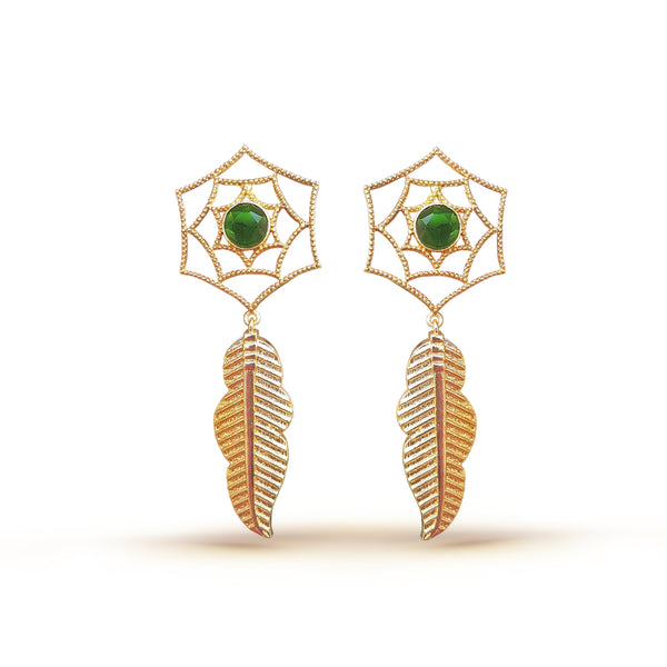 Leaf and Flower Gold and Green Earrings
