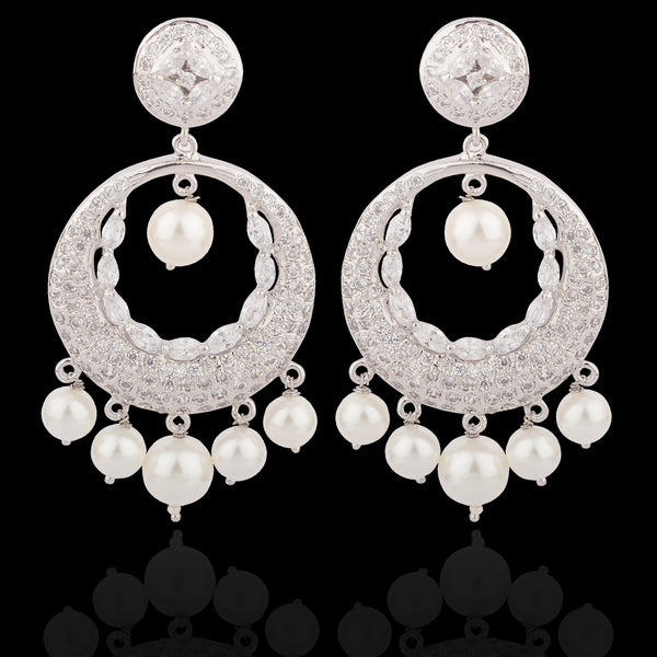 Silver Finish Chandbali Earrings