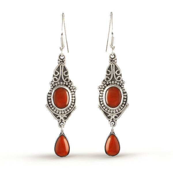 Brick Red Silver Gemstone Drop Earrings