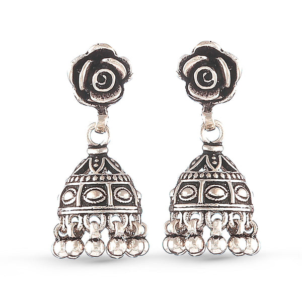 Silver Rose Jhumki Earrings