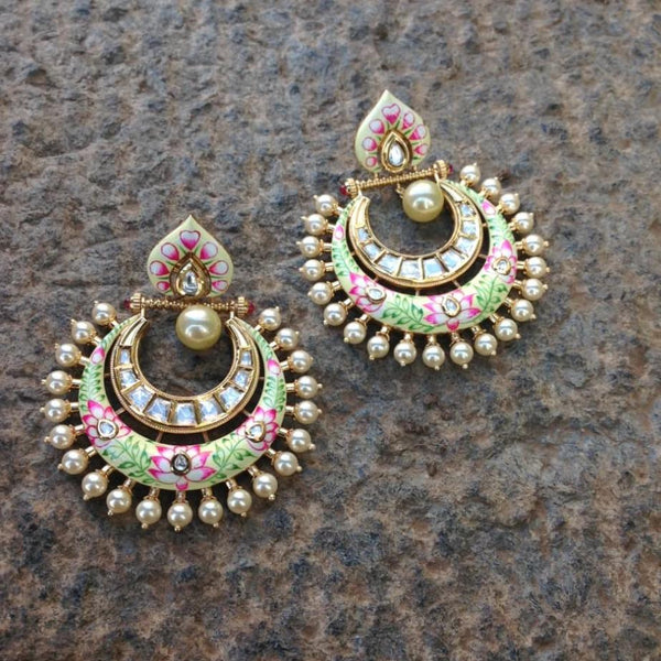 Gorgeous Long Shell Pearls Chandbali Earrings
