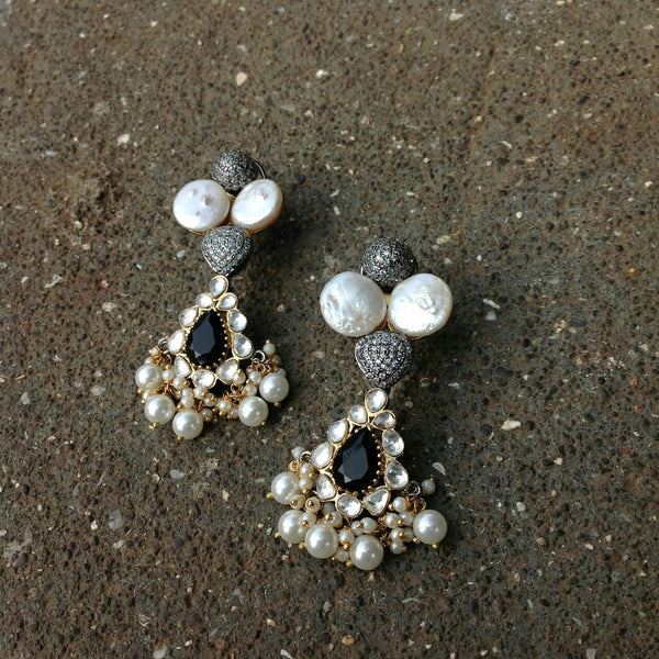 Dark Midnight Blue Kundan Pearls Earrings
