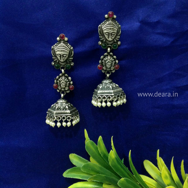 Unique Soulful Silver Jhumka Long Earrings