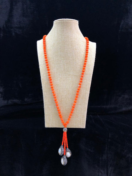 Marmalade Orange Beaded Tassel Necklace
