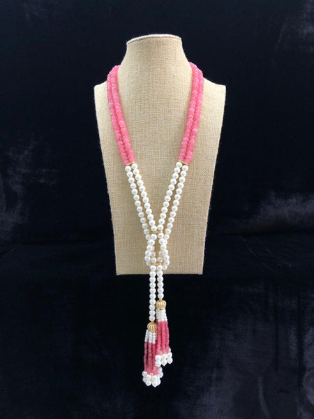Punch of Pink with Shell Pearls and Crystal Tassel Necklace