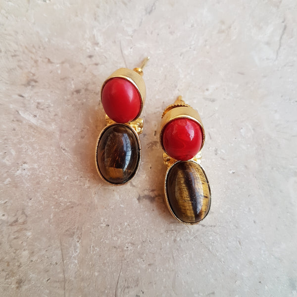 Brown Red Bow Lock Earrings