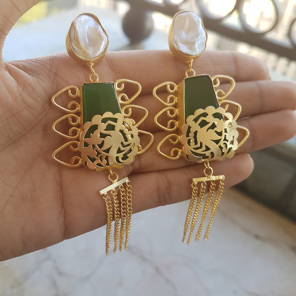 White and Pine Green Gemstone Dangler Earrings