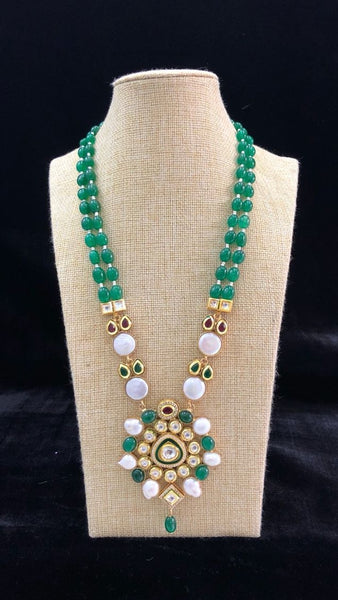 Emerald Green Glory in Kundan and Pearl Embellished Pendant Drop Necklace