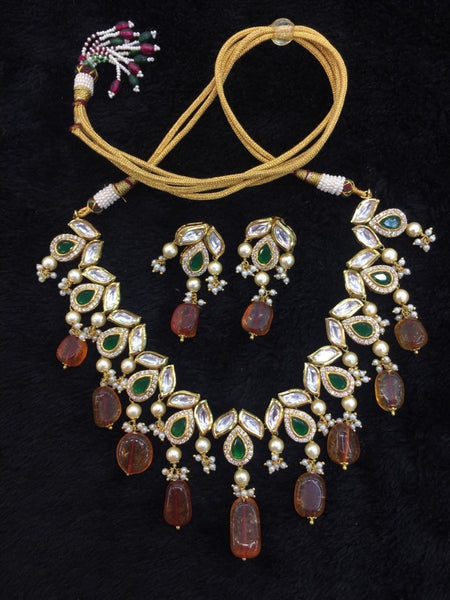 Beauticious Brown Gemstones With Kundan and Crystal Choker Necklace Set