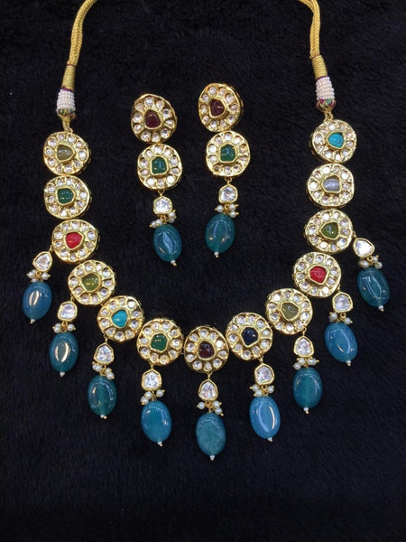 Magnetic Multi-coloured Gemstones And Kundan Choker Necklace Set