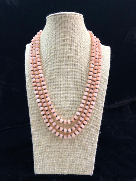 Sensuous Salmon Peach Gemstone Silver Seeds Necklace