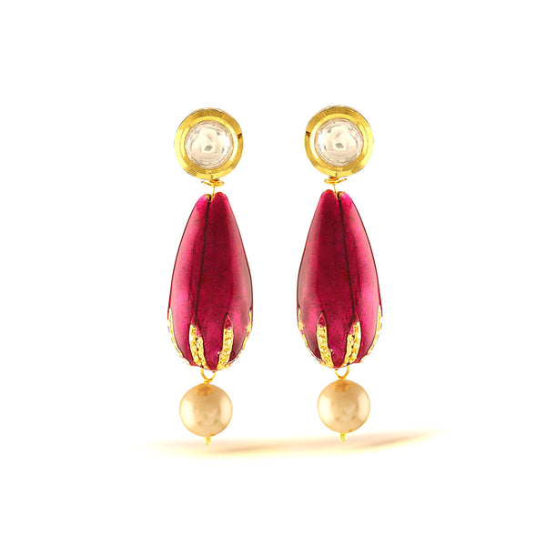 Fuchsia Pink Enamel Earrings