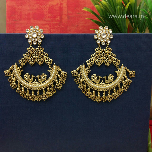 Ethnic Gold Peacock in the Half Moon Chandbali Earrings