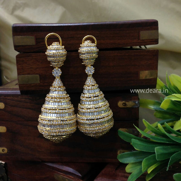 Antique Gold & Cubic Zircon Studded Long Earrings