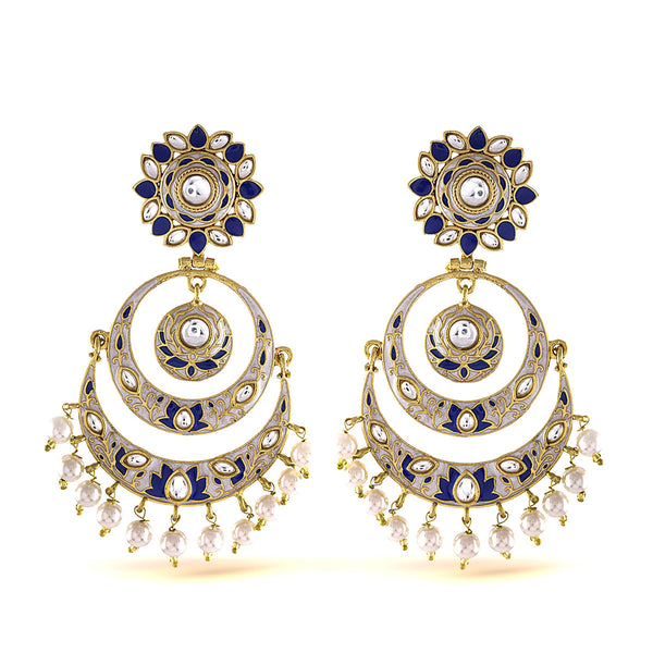 Ethnic Blue and off white Enamel Chandbali Earrings