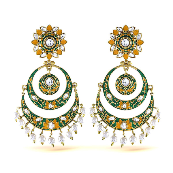 Ethnic Green And Yellow Gold Plated Chandbali Pearl Earrings