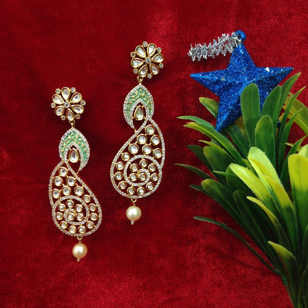 Splendid Seafoam Green Kundan And Crystal Long Earrings