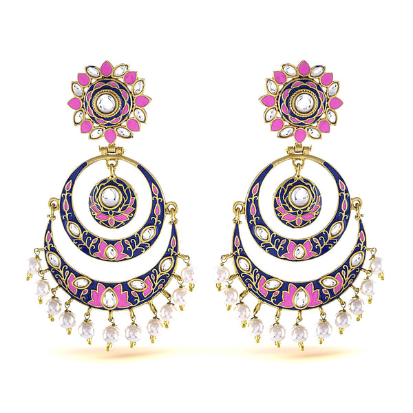 Ethnic Pink And Blue Enamel Chandbali Earrings