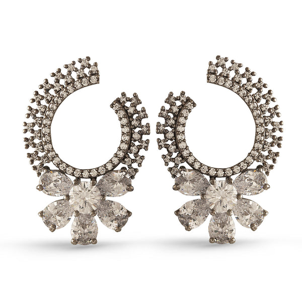 Crystal Curved Floral Pedestal Earring