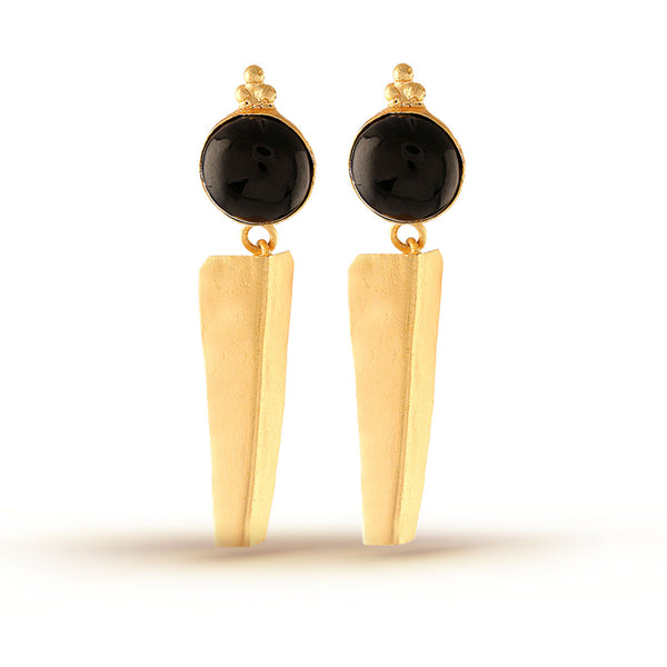 Black Gemstone Gold Dangler Earrings