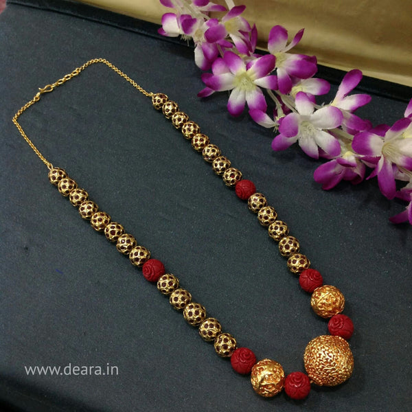 Spectacular Synthetic Coral Beads and Geru Beads Necklace