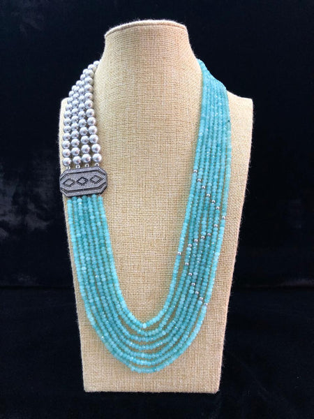 Alluring Sky Blue with Silver Pearls Necklace