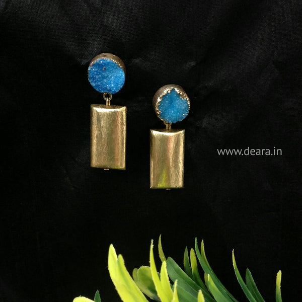 Dress-me-up in Blue and Gold Drop Earrings